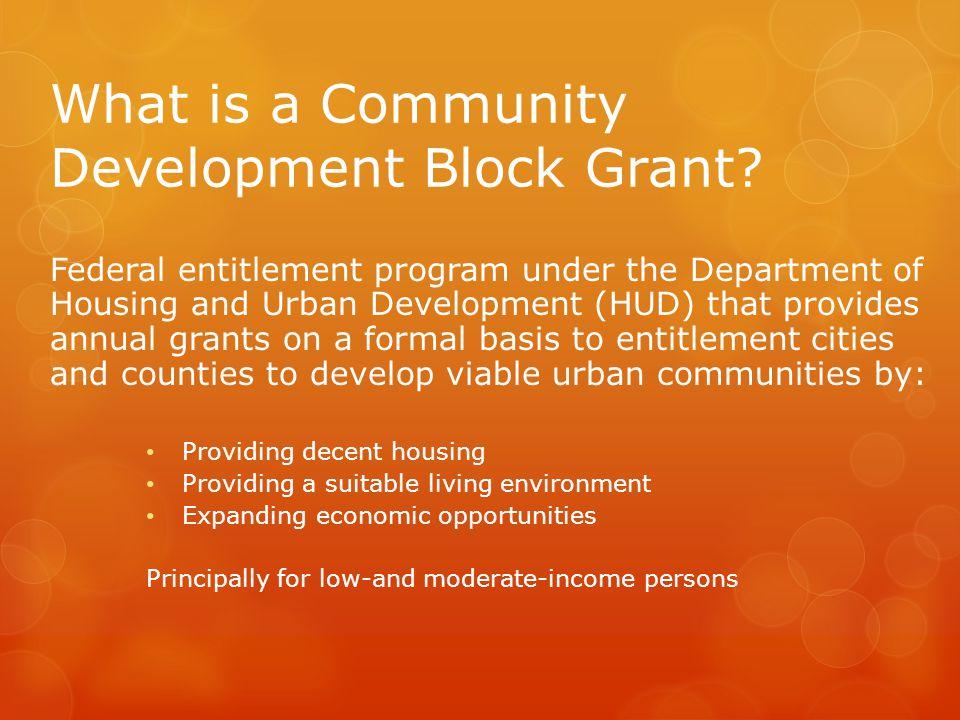 What is a Community Development Block Grant.