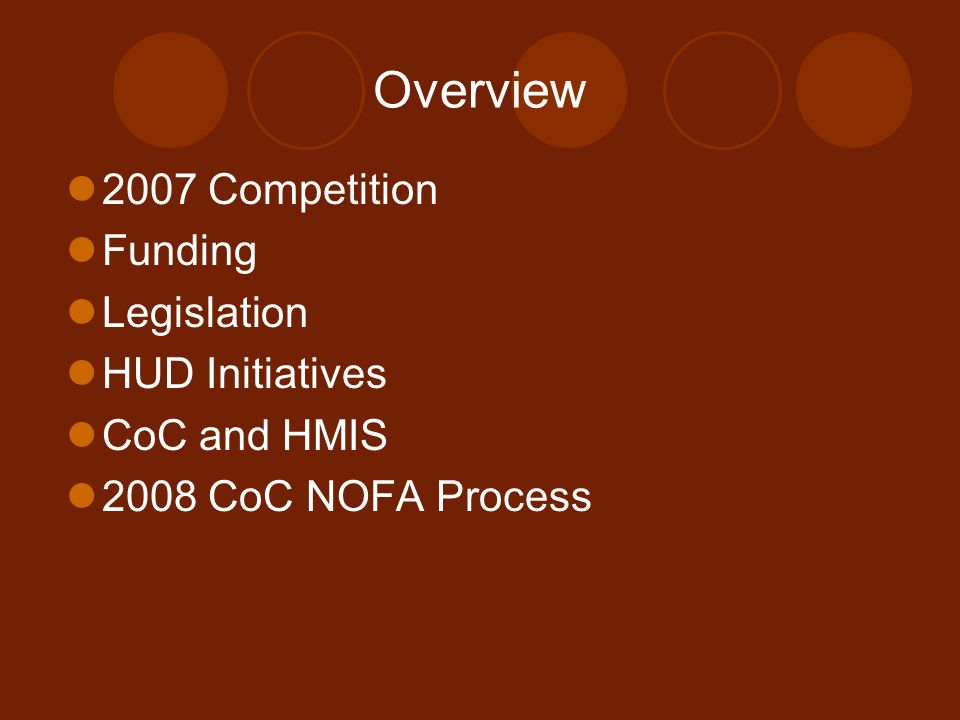 Overview 2007 Competition Funding Legislation HUD Initiatives CoC and HMIS 2008 CoC NOFA Process
