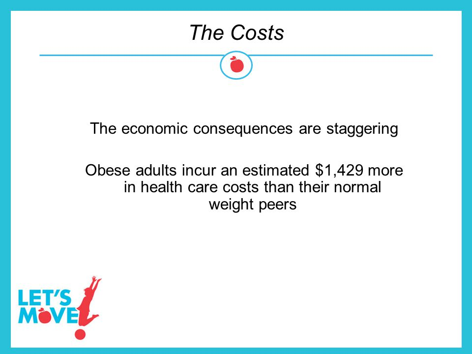 The Costs The economic consequences are staggering Obese adults incur an estimated $1,429 more in health care costs than their normal weight peers