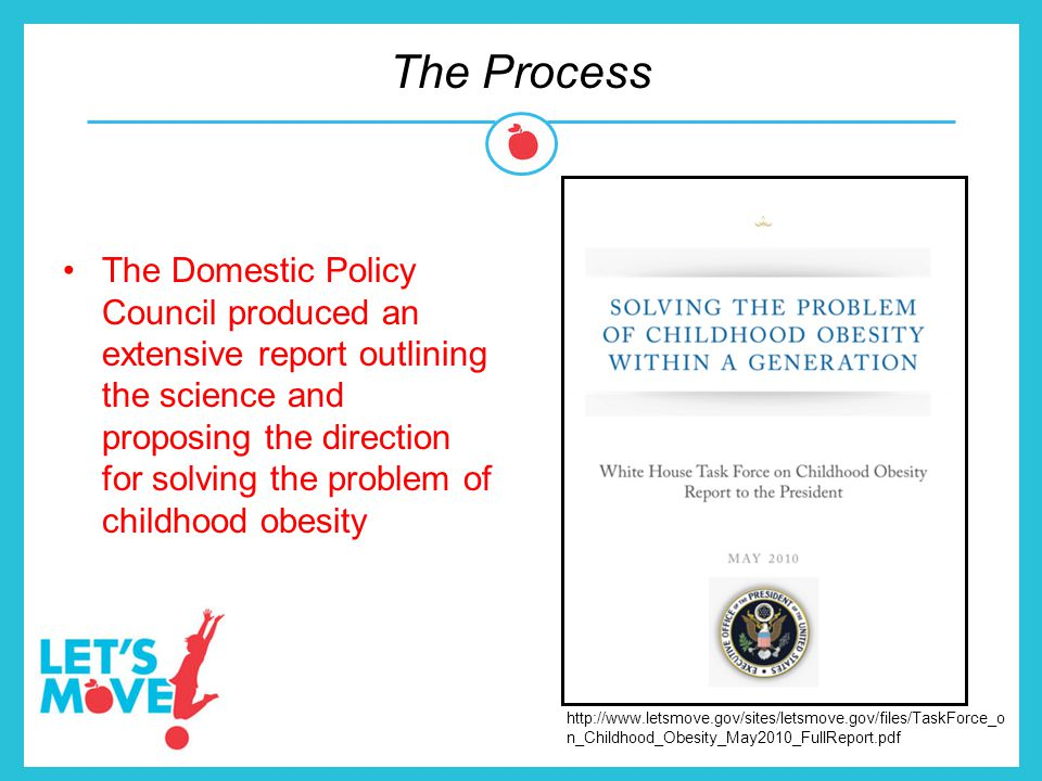 The Process The Domestic Policy Council produced an extensive report outlining the science and proposing the direction for solving the problem of chil