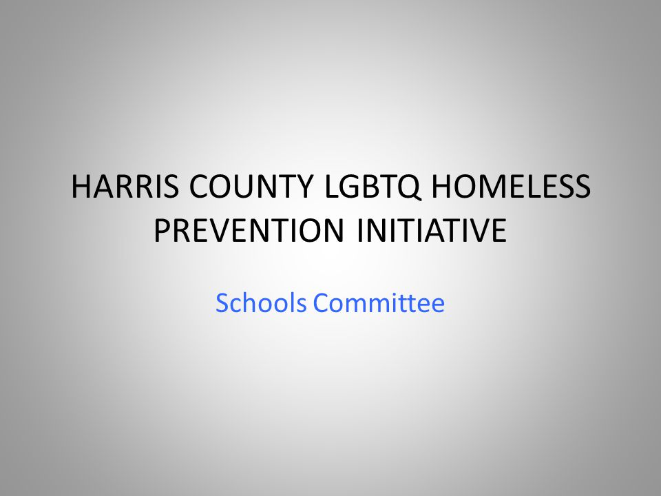 HARRIS COUNTY LGBTQ HOMELESS PREVENTION INITIATIVE Schools Committee