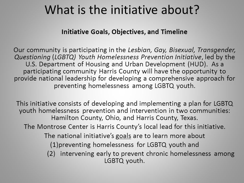 What is the initiative about.