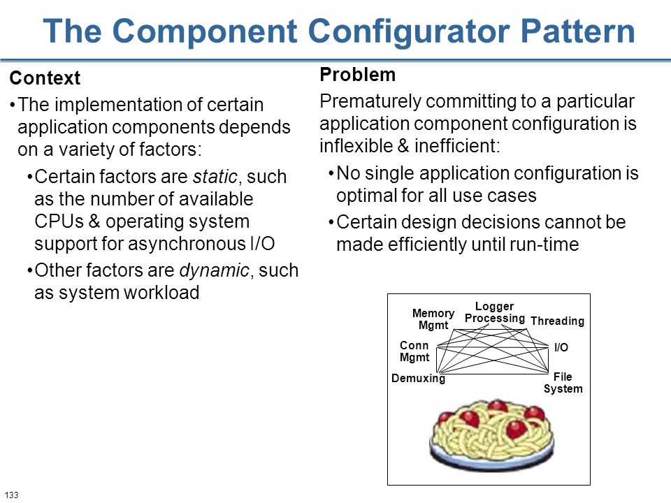 133 The Component Configurator Pattern Context The implementation of certain application components depends on a variety of factors: Certain factors a