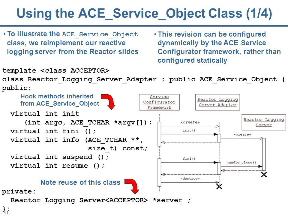 141 template class Reactor_Logging_Server_Adapter : public ACE_Service_Object { public: virtual int init (int argc, ACE_TCHAR *argv[]); virtual int fi