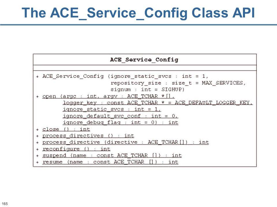 165 The ACE_Service_Config Class API