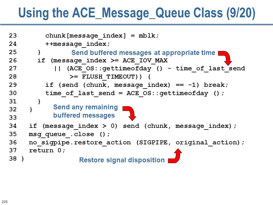 205 Using the ACE_Message_Queue Class (9/20) 23 chunk[message_index] = mblk; 24 ++message_index; 25 } 26 if (message_index >= ACE_IOV_MAX 27 || (ACE_OS::gettimeofday () - time_of_last_send 28 >= FLUSH_TIMEOUT)) { 29 if (send (chunk, message_index) == -1) break; 30 time_of_last_send = ACE_OS::gettimeofday (); 31 } 32 } 33 34 if (message_index > 0) send (chunk, message_index); 35 msg_queue_.close (); 36 no_sigpipe.restore_action (SIGPIPE, original_action); 37 return 0; 38 } Send buffered messages at appropriate time Restore signal disposition Send any remaining buffered messages