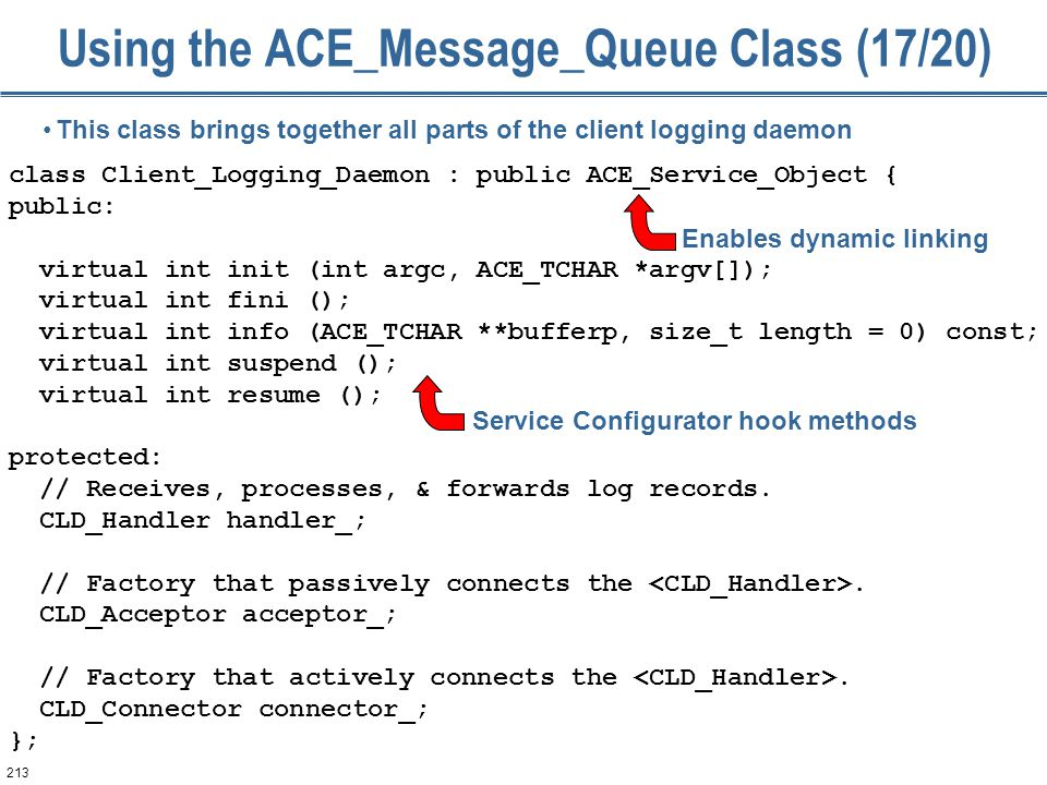 213 Using the ACE_Message_Queue Class (17/20) class Client_Logging_Daemon : public ACE_Service_Object { public: virtual int init (int argc, ACE_TCHAR