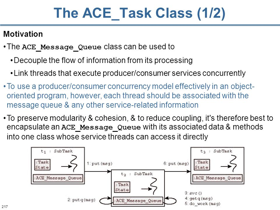 217 The ACE_Task Class (1/2) Motivation The ACE_Message_Queue class can be used to Decouple the flow of information from its processing Link threads that execute producer/consumer services concurrently To use a producer/consumer concurrency model effectively in an object- oriented program, however, each thread should be associated with the message queue & any other service-related information To preserve modularity & cohesion, & to reduce coupling, it s therefore best to encapsulate an ACE_Message_Queue with its associated data & methods into one class whose service threads can access it directly