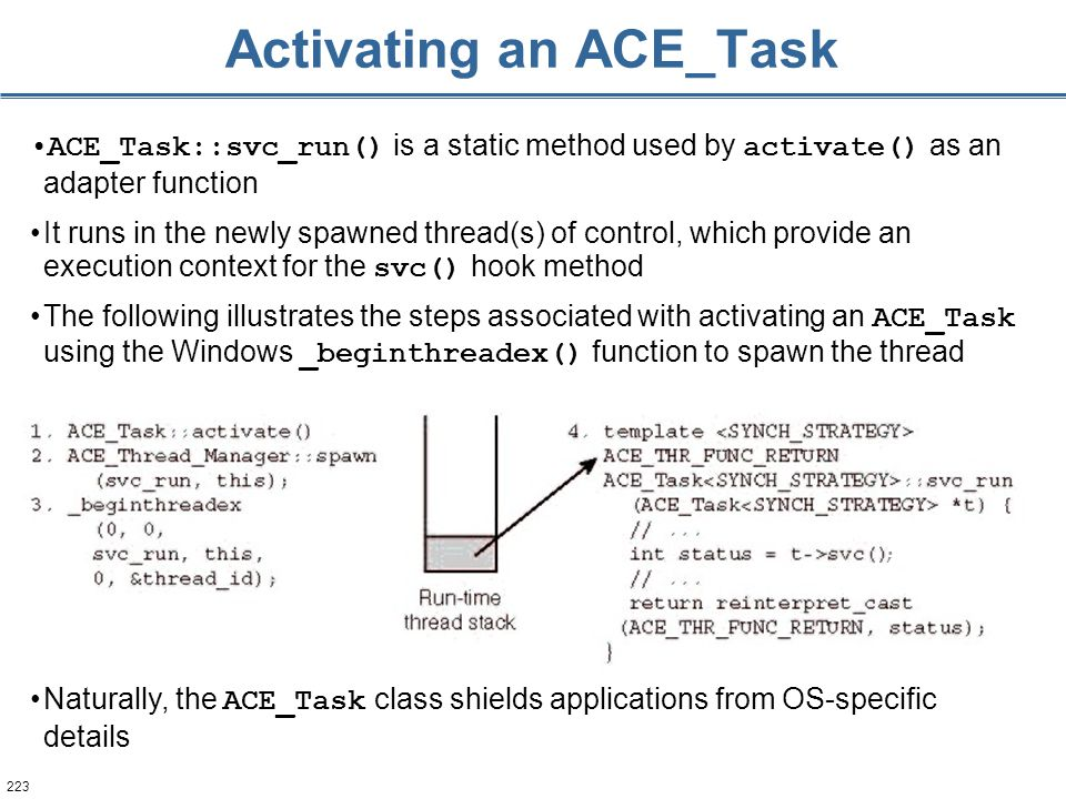 223 Activating an ACE_Task ACE_Task::svc_run() is a static method used by activate() as an adapter function It runs in the newly spawned thread(s) of