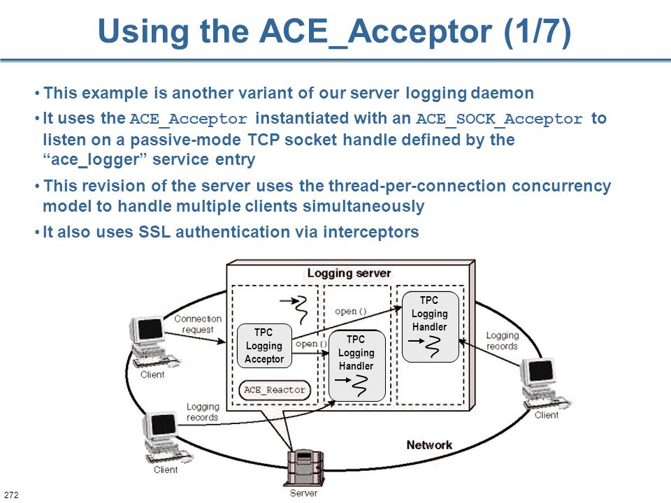 272 Using the ACE_Acceptor (1/7) This example is another variant of our server logging daemon It uses the ACE_Acceptor instantiated with an ACE_SOCK_A