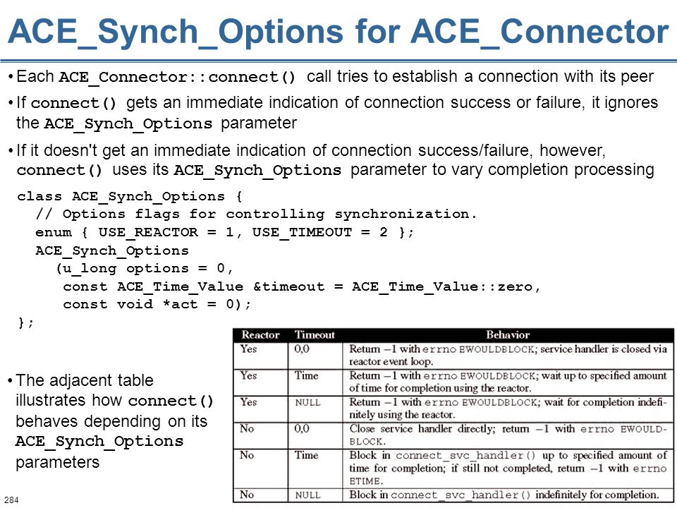 284 ACE_Synch_Options for ACE_Connector Each ACE_Connector::connect() call tries to establish a connection with its peer If connect() gets an immediat