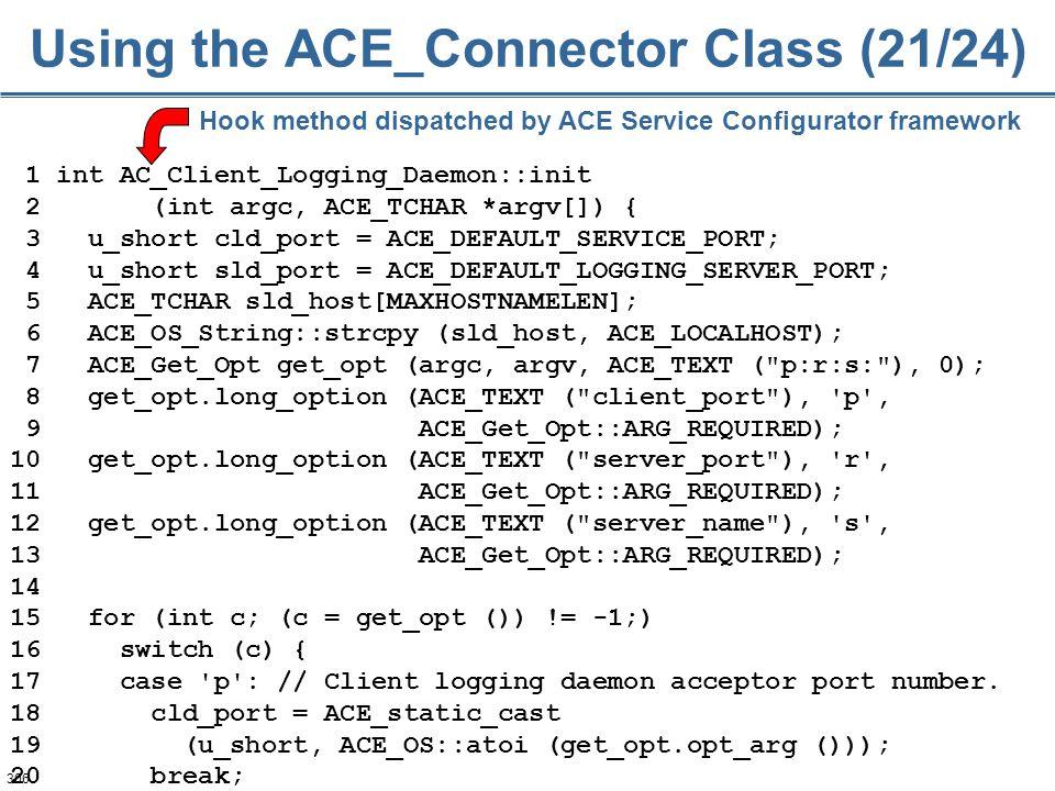306 1 int AC_Client_Logging_Daemon::init 2 (int argc, ACE_TCHAR *argv[]) { 3 u_short cld_port = ACE_DEFAULT_SERVICE_PORT; 4 u_short sld_port = ACE_DEF