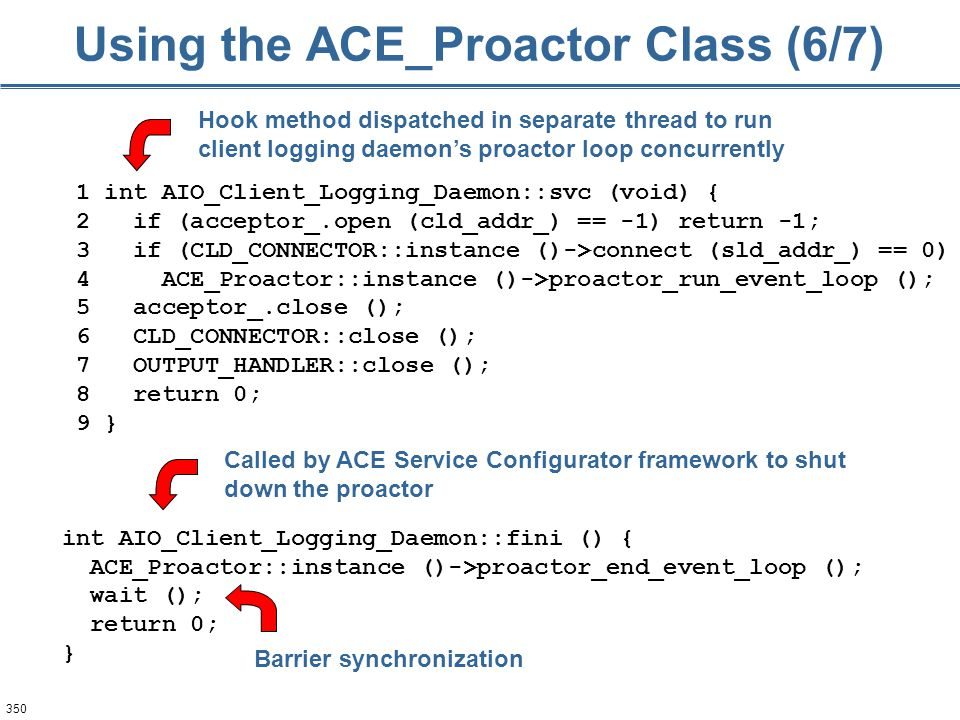 350 Using the ACE_Proactor Class (6/7) 1 int AIO_Client_Logging_Daemon::svc (void) { 2 if (acceptor_.open (cld_addr_) == -1) return -1; 3 if (CLD_CONN