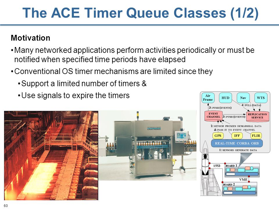 60 The ACE Timer Queue Classes (1/2) Motivation Many networked applications perform activities periodically or must be notified when specified time pe