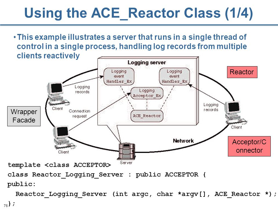 76 Using the ACE_Reactor Class (1/4) template class Reactor_Logging_Server : public ACCEPTOR { public: Reactor_Logging_Server (int argc, char *argv[], ACE_Reactor *); }; This example illustrates a server that runs in a single thread of control in a single process, handling log records from multiple clients reactively Reactor Wrapper Facade Acceptor/C onnector