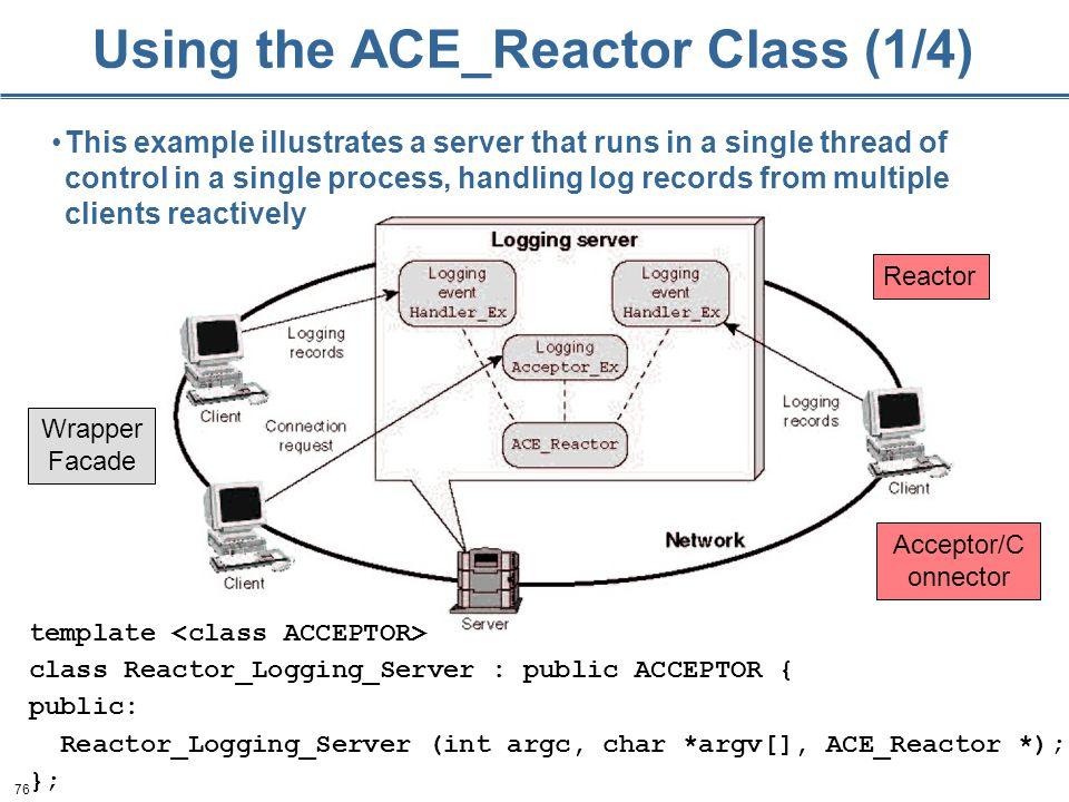 76 Using the ACE_Reactor Class (1/4) template class Reactor_Logging_Server : public ACCEPTOR { public: Reactor_Logging_Server (int argc, char *argv[],