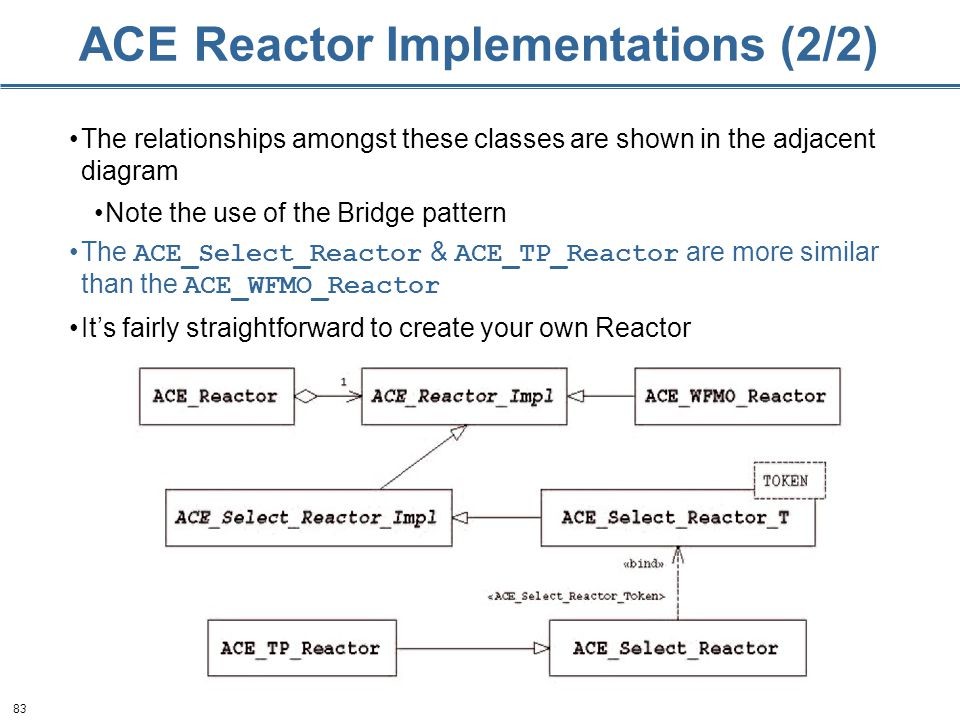 83 ACE Reactor Implementations (2/2) The relationships amongst these classes are shown in the adjacent diagram Note the use of the Bridge pattern The ACE_Select_Reactor & ACE_TP_Reactor are more similar than the ACE_WFMO_Reactor It's fairly straightforward to create your own Reactor