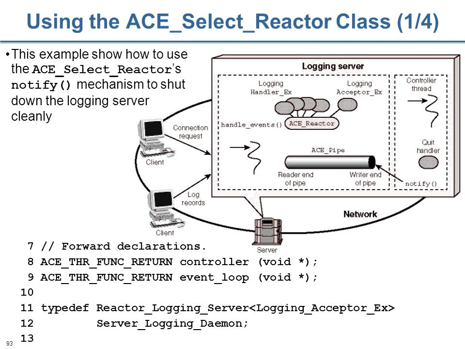 93 Using the ACE_Select_Reactor Class (1/4) 7 // Forward declarations. 8 ACE_THR_FUNC_RETURN controller (void *); 9 ACE_THR_FUNC_RETURN event_loop (vo