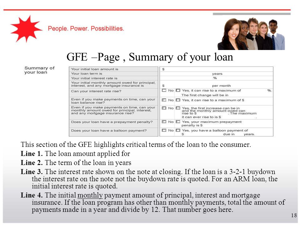 18 GFE –Page, Summary of your loan This section of the GFE highlights critical terms of the loan to the consumer. Line 1. The loan amount applied for