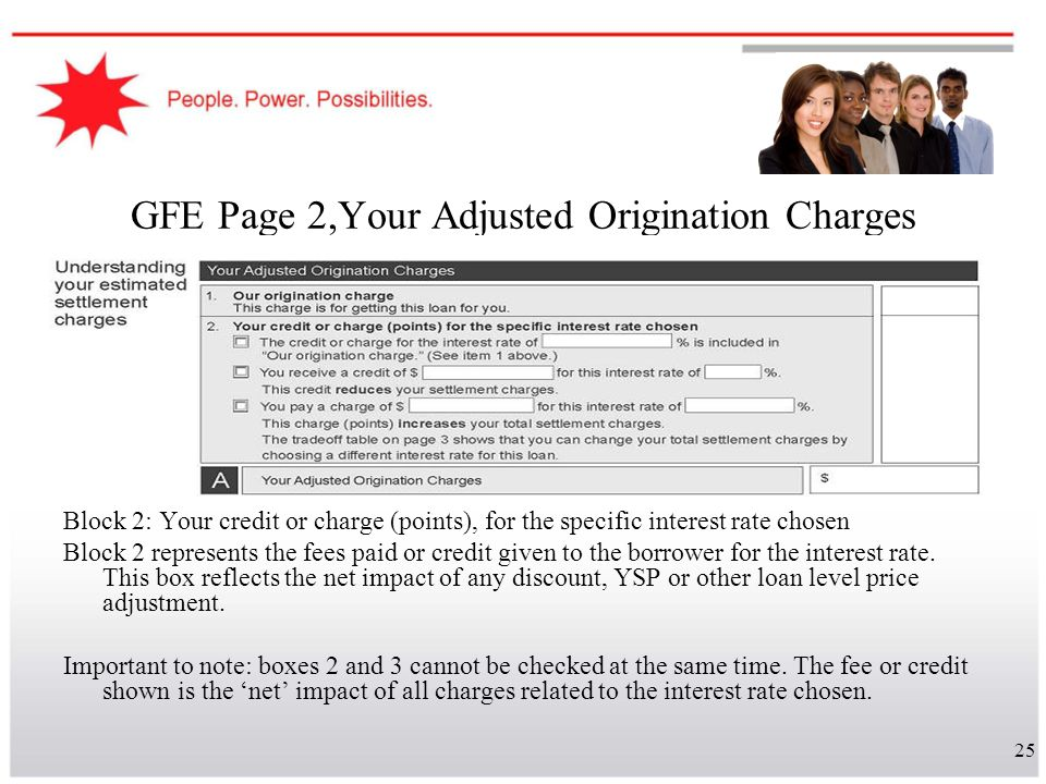 25 GFE Page 2,Your Adjusted Origination Charges Block 2: Your credit or charge (points), for the specific interest rate chosen Block 2 represents the
