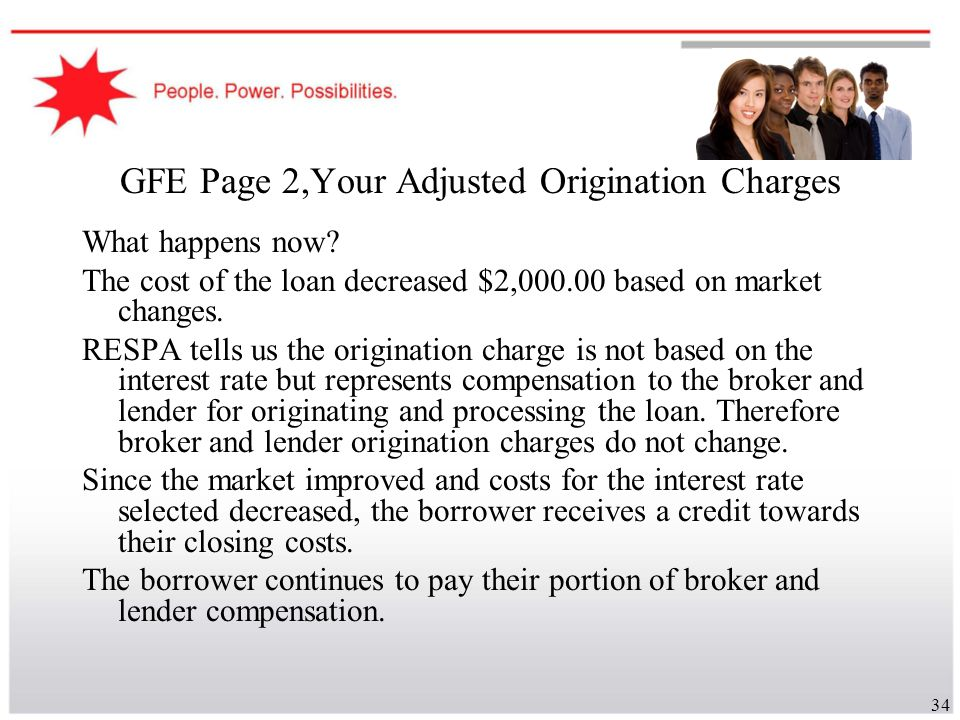 34 GFE Page 2,Your Adjusted Origination Charges What happens now? The cost of the loan decreased $2,000.00 based on market changes. RESPA tells us the