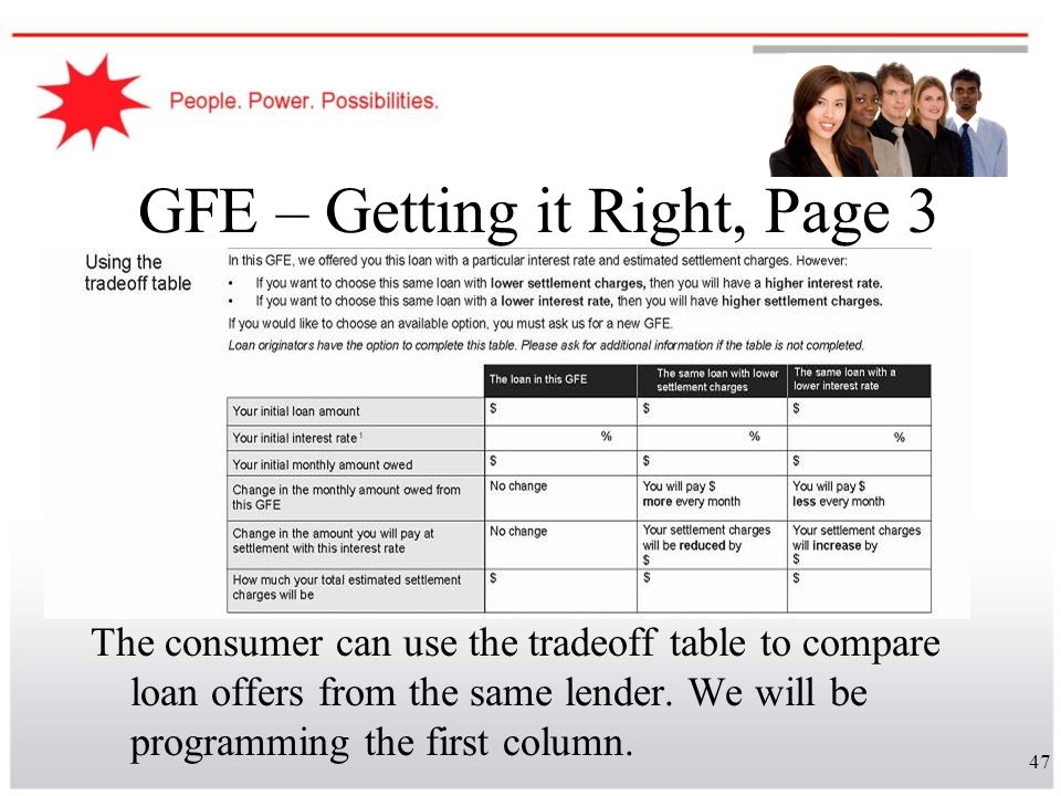 47 GFE – Getting it Right, Page 3 The consumer can use the tradeoff table to compare loan offers from the same lender. We will be programming the firs