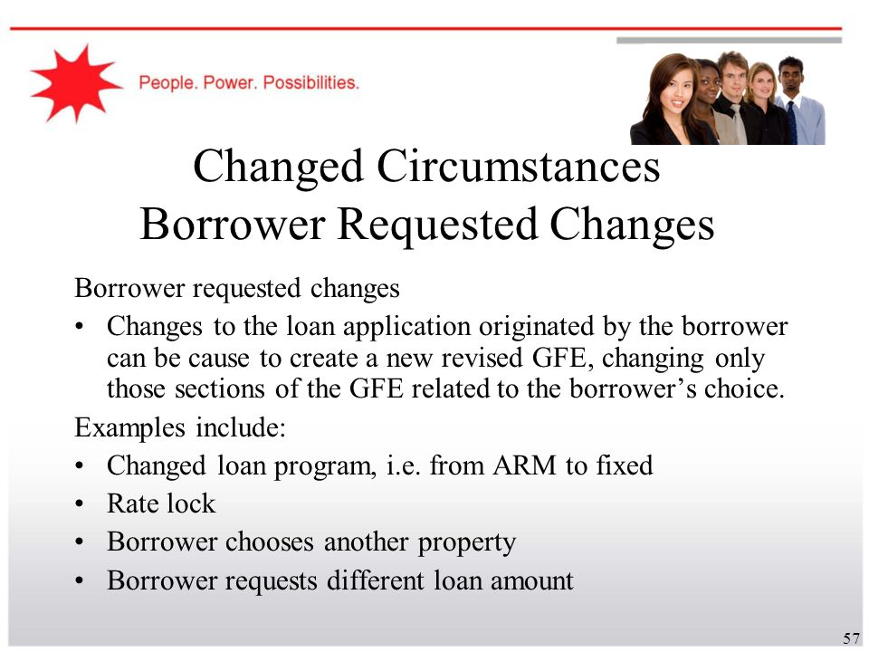 57 Changed Circumstances Borrower Requested Changes Borrower requested changes Changes to the loan application originated by the borrower can be cause