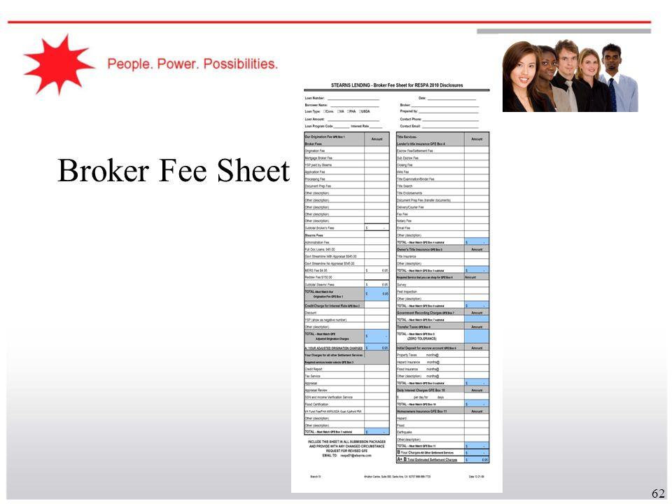 62 Broker Fee Sheet