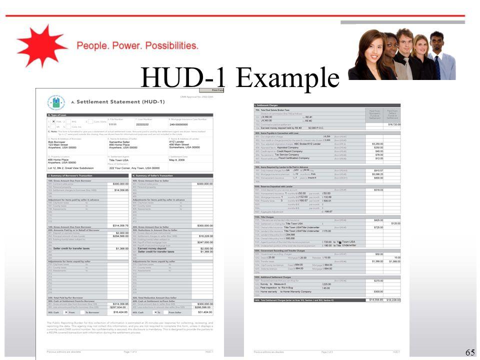 65 HUD-1 Example