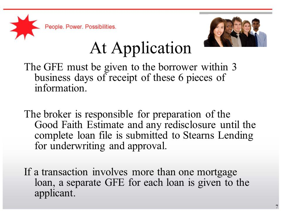 48 GFE – Getting it Right, Page 3 The shopping chart is a useful tool for the consumer to use to compare offers from all lenders during the 10 business day period described earlier.