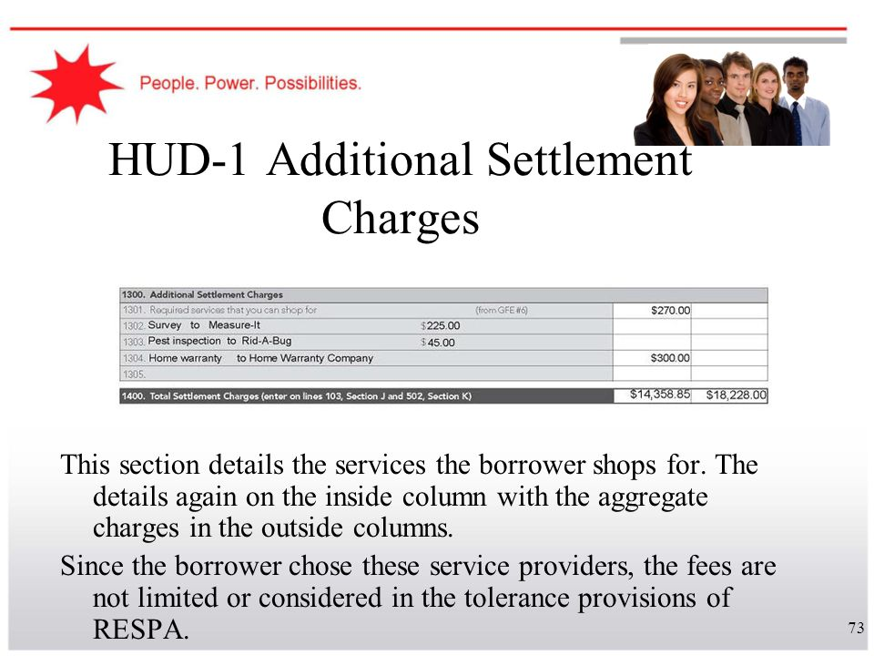 73 HUD-1 Additional Settlement Charges This section details the services the borrower shops for. The details again on the inside column with the aggre