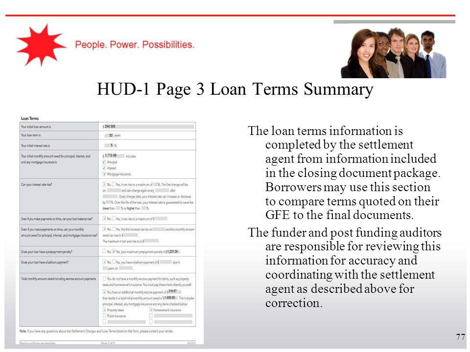 77 HUD-1 Page 3 Loan Terms Summary The loan terms information is completed by the settlement agent from information included in the closing document p
