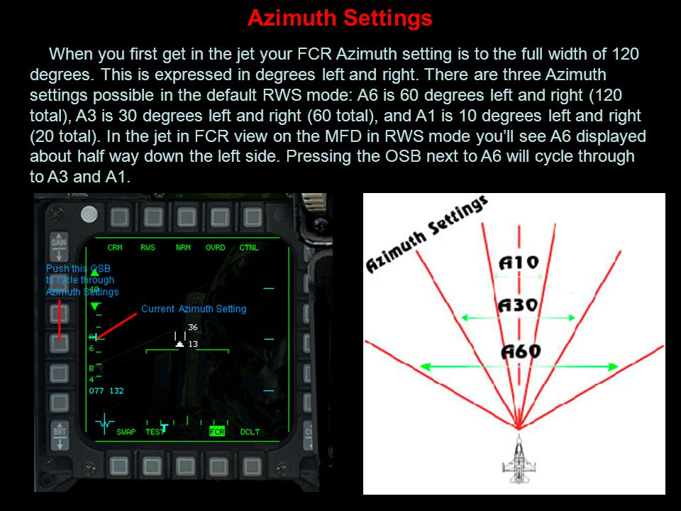 Azimuth Settings When you first get in the jet your FCR Azimuth setting is to the full width of 120 degrees. This is expressed in degrees left and rig