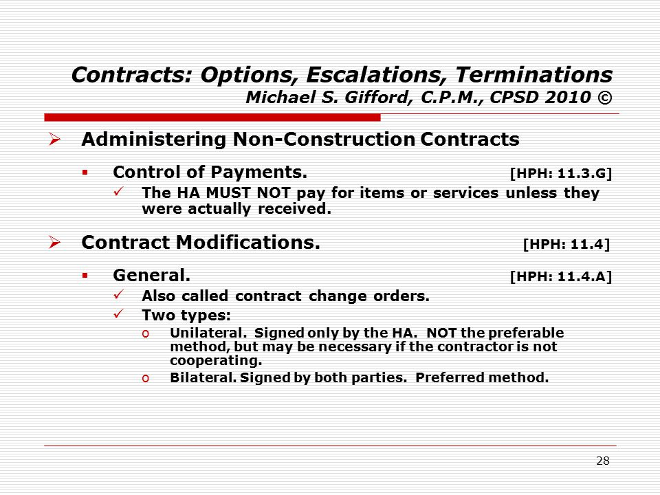 28 Contracts: Options, Escalations, Terminations Michael S.