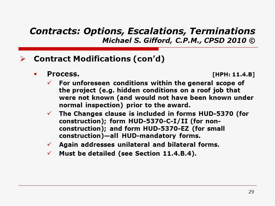 29 Contracts: Options, Escalations, Terminations Michael S.