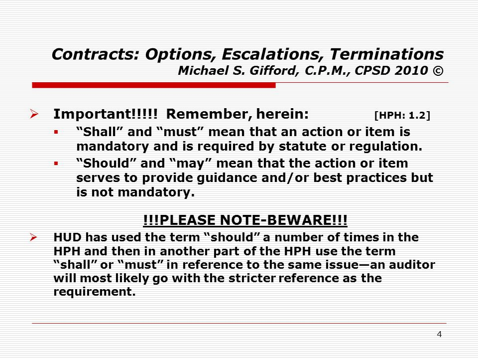 25 Contracts: Options, Escalations, Terminations Michael S.