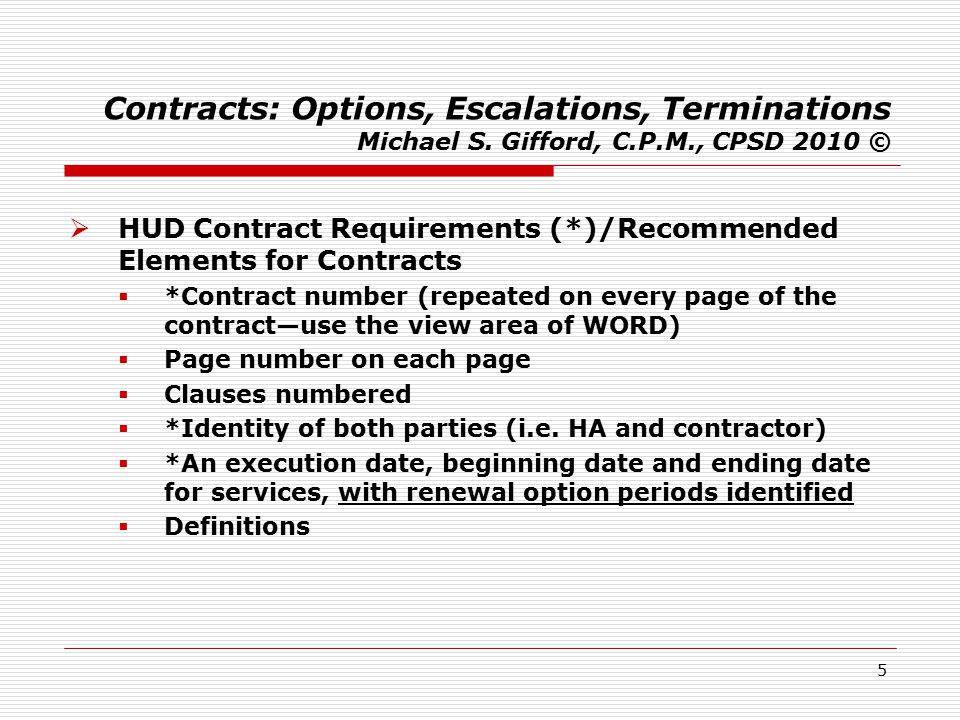 16 Contracts: Options, Escalations, Terminations Michael S.
