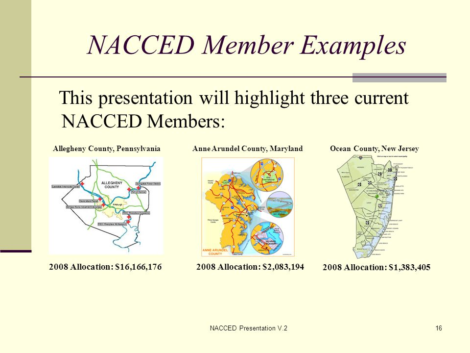 NACCED Presentation V.216 NACCED Member Examples This presentation will highlight three current NACCED Members: Allegheny County, Pennsylvania 2008 Al