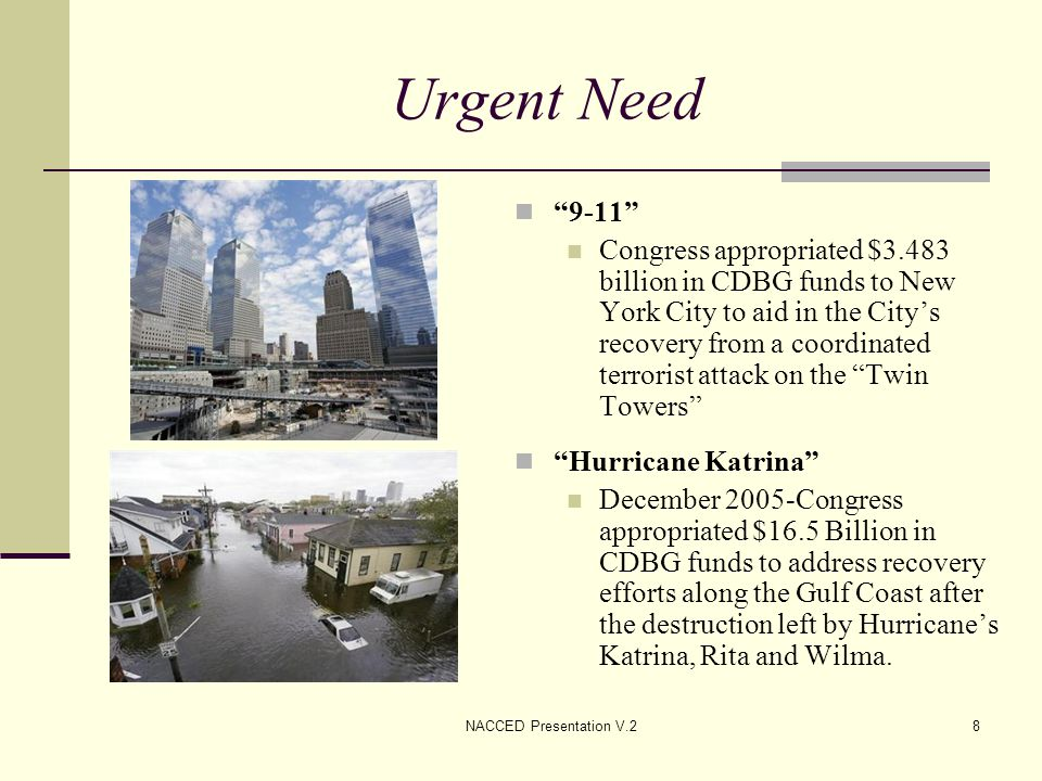 NACCED Presentation V.29 Urgent Need In 2008, HUD allocated $9.423 billion in CDBG funds for the following: 1.
