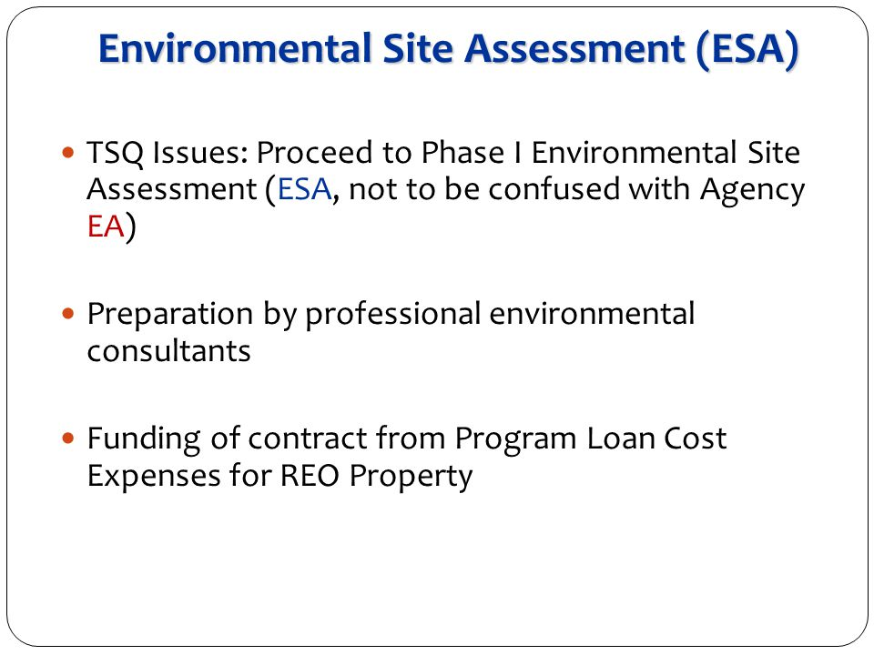 Environmental Site Assessment (ESA) TSQ Issues: Proceed to Phase I Environmental Site Assessment (ESA, not to be confused with Agency EA) Preparation by professional environmental consultants Funding of contract from Program Loan Cost Expenses for REO Property