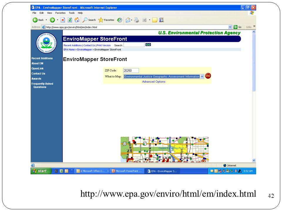 http://www.epa.gov/enviro/html/em/index.html 42