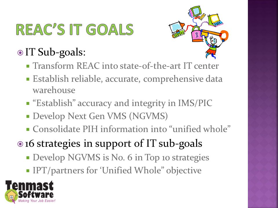  IT Sub-goals:  Transform REAC into state-of-the-art IT center  Establish reliable, accurate, comprehensive data warehouse  Establish accuracy and integrity in IMS/PIC  Develop Next Gen VMS (NGVMS)  Consolidate PIH information into unified whole  16 strategies in support of IT sub-goals  Develop NGVMS is No.