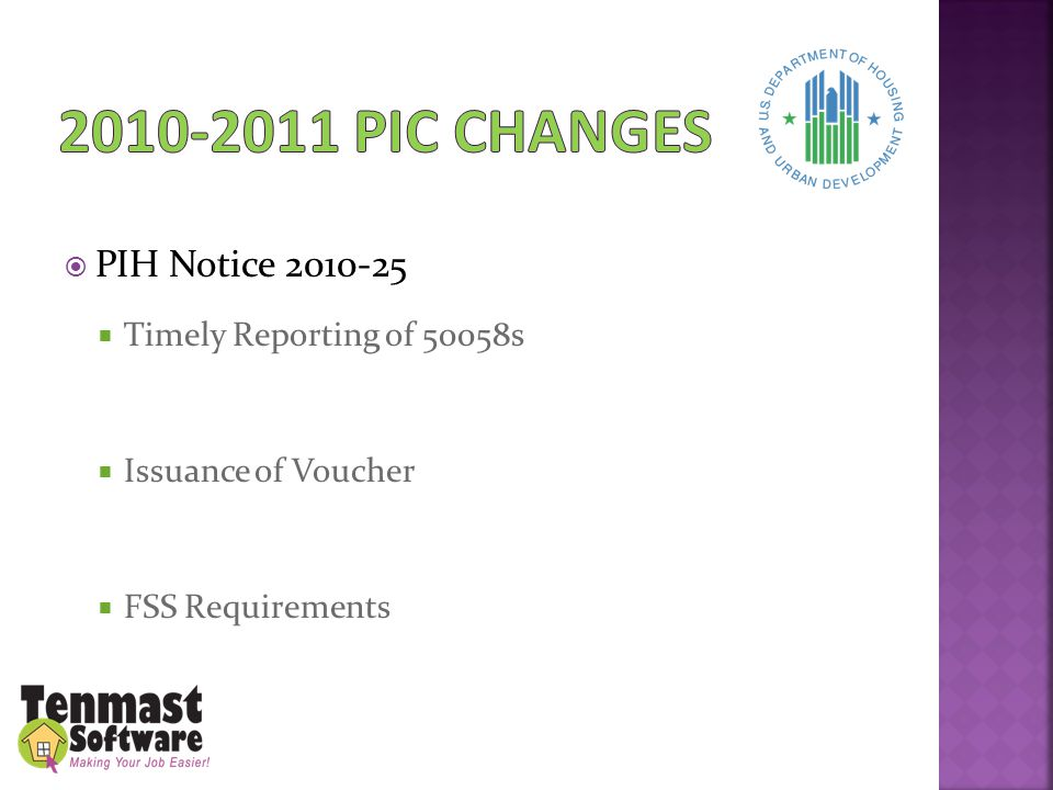  PIH Notice 2010-25  Timely Reporting of 50058s  Issuance of Voucher  FSS Requirements