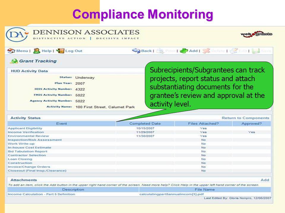 Dennison Associates, Inc. Key Features of DA Webgrants cont'd Encumbrances Encumbrances can be set at the project and activity level and include penal