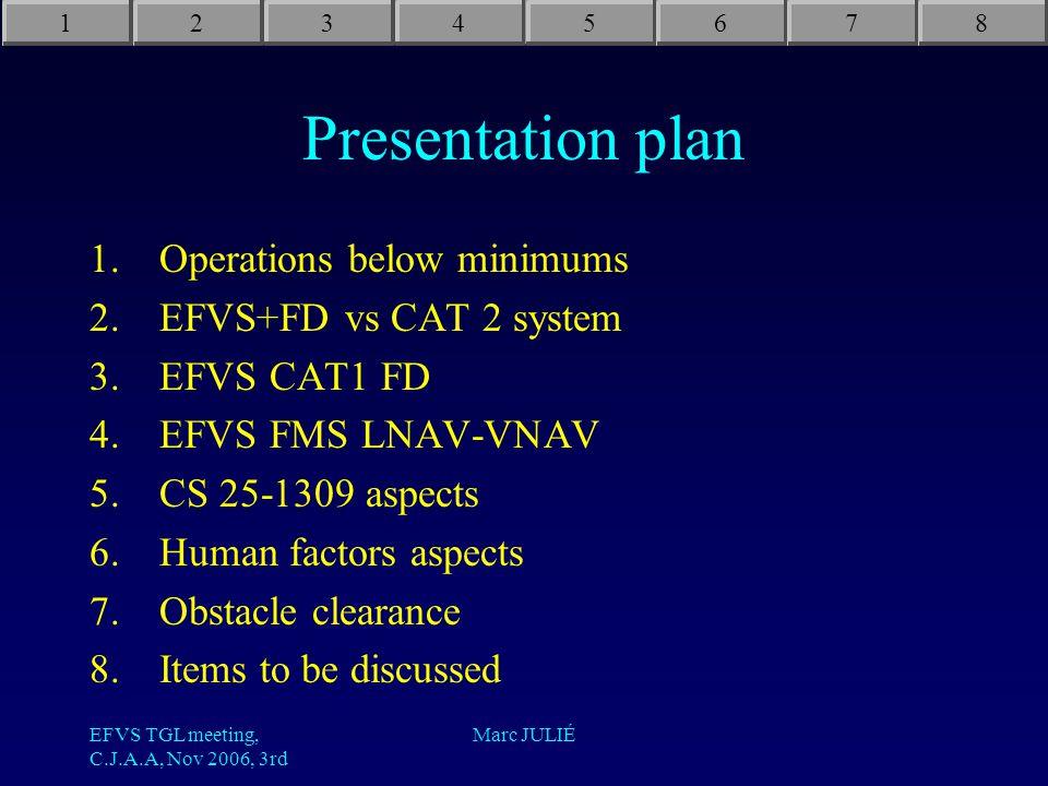EFVS TGL meeting, C.J.A.A, Nov 2006, 3rd Marc JULIÉ Presentation plan 1.Operations below minimums 2.EFVS+FD vs CAT 2 system 3.EFVS CAT1 FD 4.EFVS FMS LNAV-VNAV 5.CS 25-1309 aspects 6.Human factors aspects 7.Obstacle clearance 8.Items to be discussed 12345678