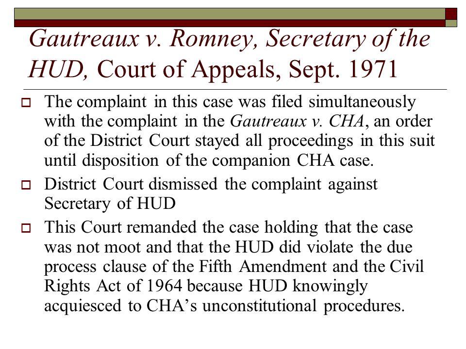 Gautreaux v. Romney, Secretary of the HUD, Court of Appeals, Sept.