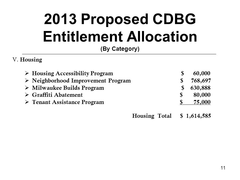 11 2013 Proposed CDBG Entitlement Allocation (By Category) V.