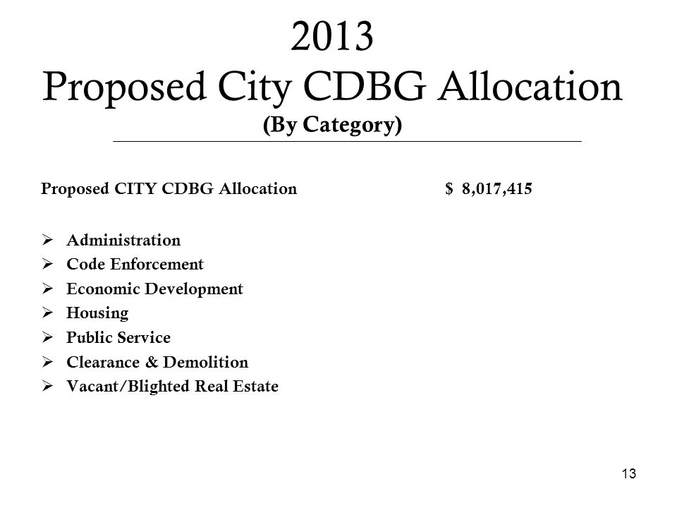 2013 Proposed City CDBG Allocation (By Category) Proposed CITY CDBG Allocation $ 8,017,415  Administration  Code Enforcement  Economic Development  Housing  Public Service  Clearance & Demolition  Vacant/Blighted Real Estate 13