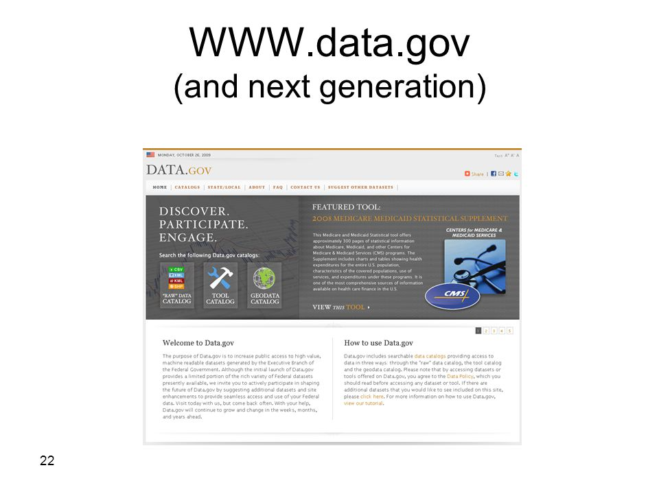 22 WWW.data.gov (and next generation)