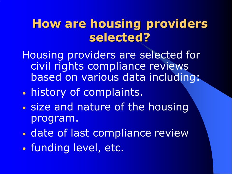 HUD allows Alternate Accessibility Standards Accessibility requirements for federally Subsidized Housing recipients – use Uniform Federal Accessibility Standards (UFAS) to meet the accessibility requirements of Section 504.